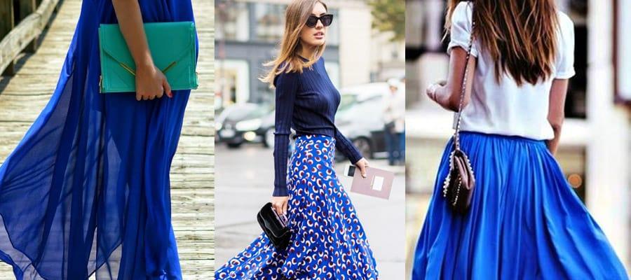 макси юбка синяя