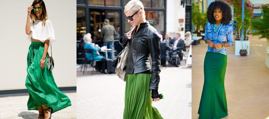 зеленая макси юбка