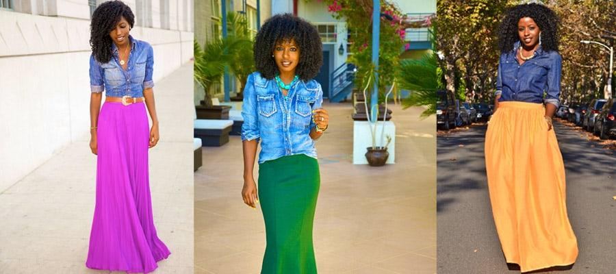 юбка в пол с джинсовой рубашкой