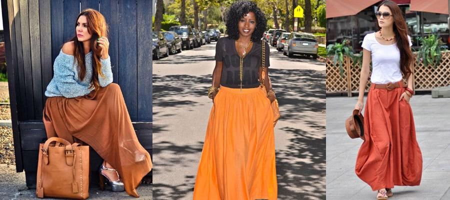 юбка в пол оранжевая