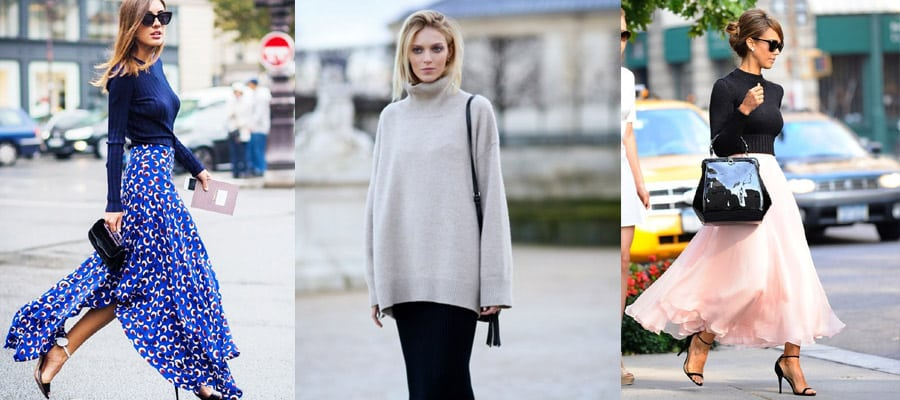 юбка в пол с пуловером