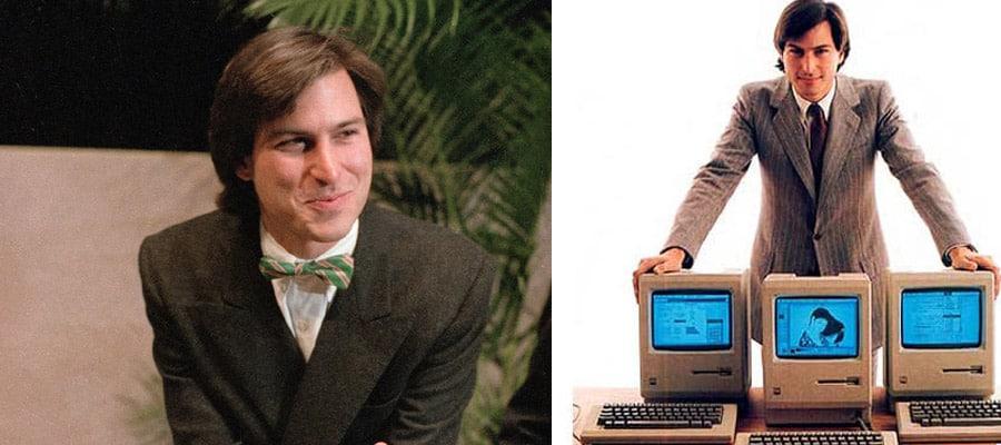 Молодой Стив Джобс в костюмах с галстуком и бабочкой
