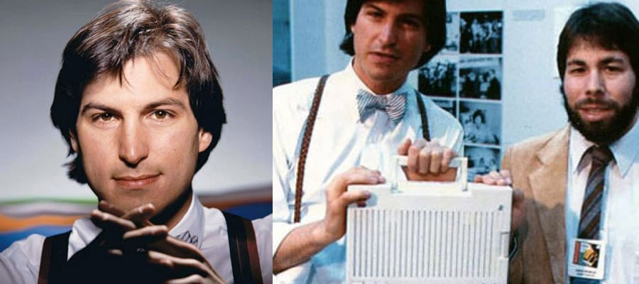 Стив Возняк и Стив Джобс в молодости в рубашке и подтяжках